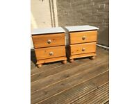 Pine bedside tables with Laura Ashley dove grey painted top ceramic handles tables