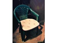 GARDEN PATIO CHAIRS. (10 OR IN GROUPS) MID GREEN COLOUR AND INCLUDES TIE ON SEAT PADS