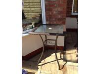 High rattan effect garden table