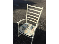 Mid Size White Painted Rocking Chair , great size . Free local delivery.