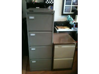 Filing Cabinets: one 4 drawer £20 (grey) and one 2 drawer £15 (brown and cream) or both for £30!