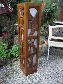 Carved,African Hardwood,Floor Standing Lamp,Approx 46 inches high.