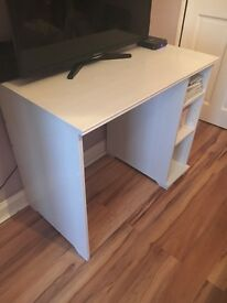 White Wood Desk with black swivel chair