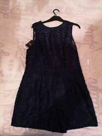 navy lace playsuit size 16