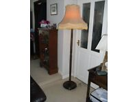"""Vintage Oak Floor Standing, Standard Lamp with Lamp Shade, Size 1.78m (70"""") with shade."""