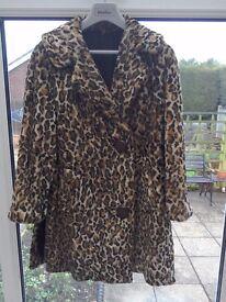 LADIES FUR FAUX SHORT COAT leopard print