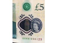 First Edition Polymer Five Pound Note