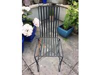 6 black garden chairs