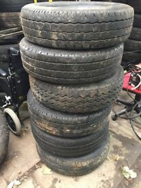 6 x 215/75/15c part worn tyres, four still on transit rims