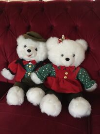 White His and Hers Teddy Bears