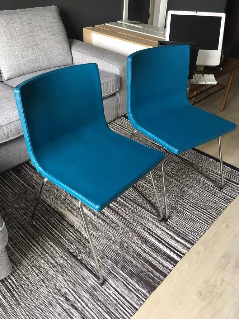 2x Turquoise Leather Dining Chairs