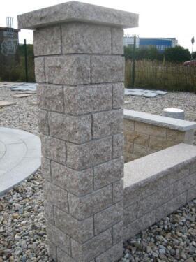 1 torpfeiler massiver granit altrosa einzelposten in - Pooleinfassung rund ...