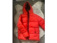 Boys red next padded jacket aged 7 years