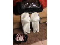 Boys Slazenger cricket batting pads and Gloves
