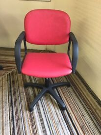 Red gas lift chair with arms