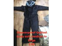 Showerproof quilted suit