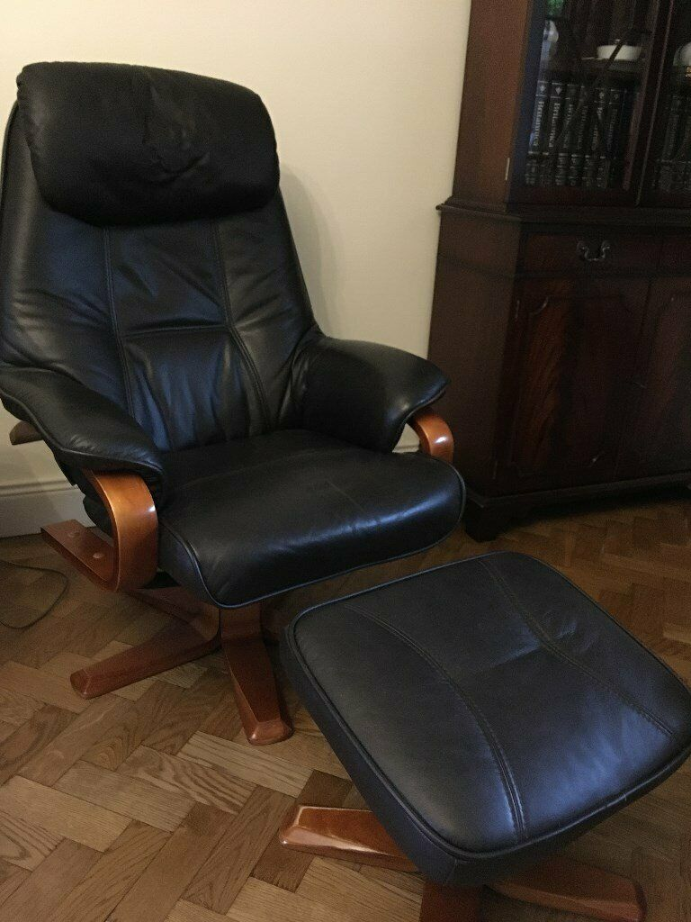 Dark Brown Leather Swivel Chair And Stool In Fareham Hampshire Gumtree