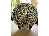 Portugese Studio Earthenware Plate & 2 Lamp Bases For Sale