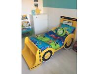 Digger bed and bedroom accessories