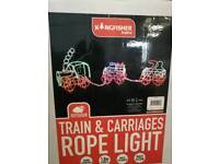Brand new 3 piece rope train light, (outdoor)