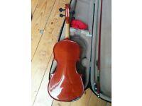 Antoni 57cm half size Violin, bow and case.