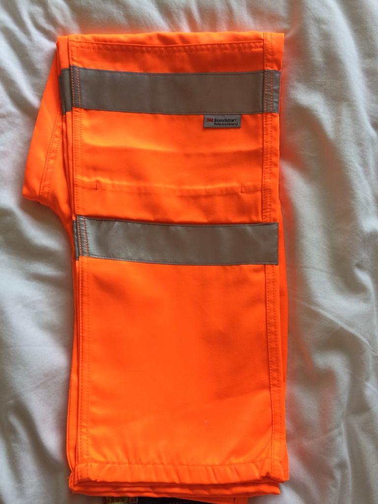 "Orange hi-viz trousers 30"" £10"