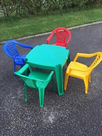 Childrens plastic table and x4 chairs