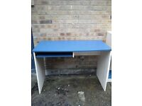 Blue and white matching desk and storage unit