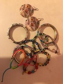 Ear rings, and bracelets