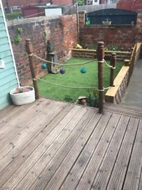 Garden landscaping and services, artificial lawns, decking, playhouses.