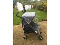 Maclaren twin techno double pushchair in crown blue.