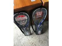 2 Wilson Squash Rackets and Carry Cases - Blue