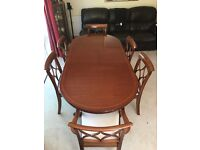 Georgian Style Mahogany Effect Table, 6 x Chairs, Two piece Dresser and TV Unit
