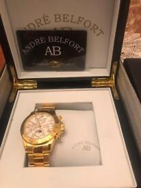 Andre Belfort Le Capitaine Gold Silber Watch