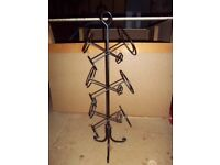 Black Wrought-Iron Type Free Standing Wine Rack for 6 bottles