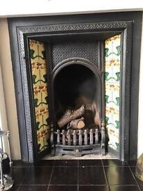 Victorian tiled fireplace - vintage - antique