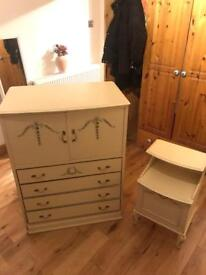 Matching chest of drawers and bedside table