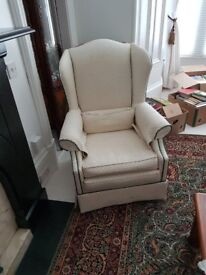 2 identical high-back arm chairs