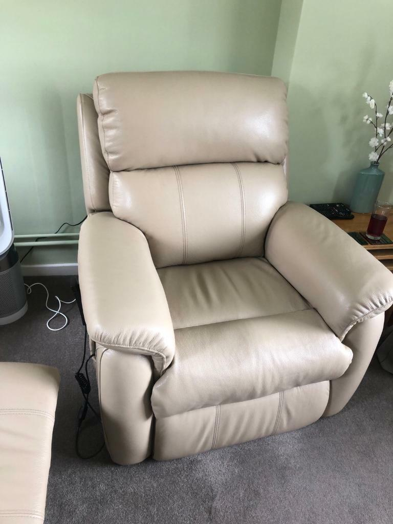 Stupendous Beige Leather Recliner Sofa And Recliner And Riser Disability Chair In Wolverton Buckinghamshire Gumtree Onthecornerstone Fun Painted Chair Ideas Images Onthecornerstoneorg