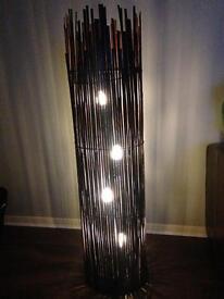 Brown wicker/bamboo floor light