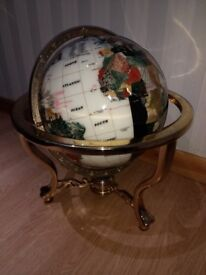"LARGE 21"" Gemstone Globe with Compass / Brass / Stones / Gem"