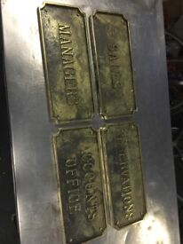 Set of 4 brass signs