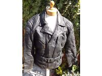 "Vintage Akito Black Leather Belted Motorcycle Jacket-L 42""(106 cm)"