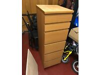 IKEA Malm Chest of Drawers For Sale, £40. Very Good Condition, Oak Effect (4 big drawers, 2 small)