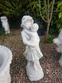 Concrete Lady with Child Garden Statue