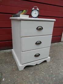 Small solid pine chest of 3 drawers hand painted, distressed and waxed