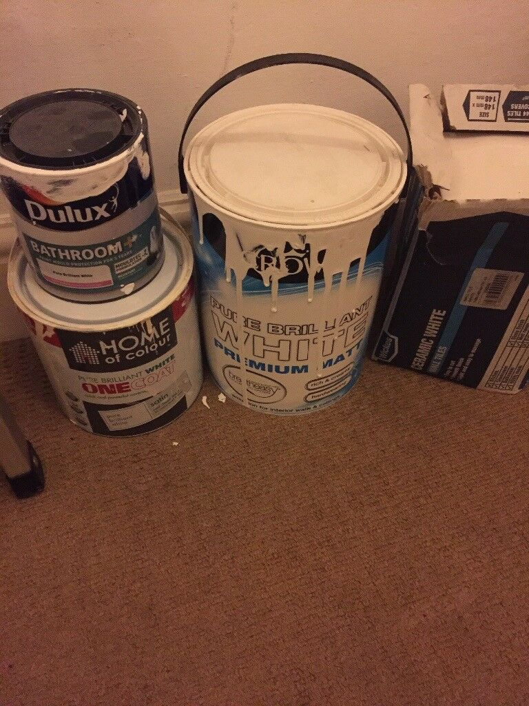 FREE! 2 packs white ceramic tiles and 3 pots paint (opened)