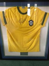 Signed framed Pele shirt