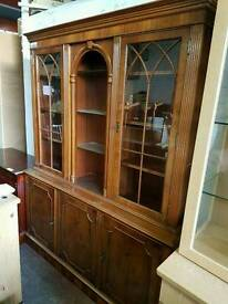 Large reproduction dresser unit with glass shelving