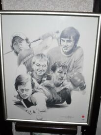 Limited edition B/W framed sketch. Sporting Legends from Northern Ireland, by Tom Heyburn
